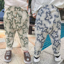 Wholesale Kid Stars Print Harem Trouser - 2017 New Baby Boy pants Children Printed star casual pants trousers Harem Pants Toddler Clothes Newborn Clothing kids Clothes boys wear A228