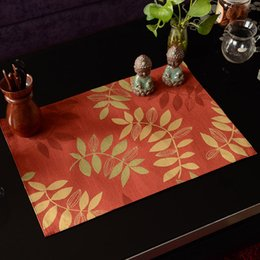 Wholesale Jacquard Fabric For Sale - Wholesale- Royal Jacquard Leaves Fabric Placemats One Piece Sale Luxury Red Leaf Place Mat Heat-Insulated Disc Pads For Dining Table