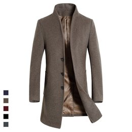 Wholesale Europe Trench - Wholesale- Top Quality British Slim 2016 single breasted mens long trench coat Europe trench coat jacket male coat trench