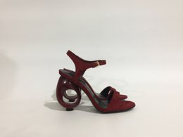 Wholesale Sandal Fashion Lady Shoes - 2017 Summer newly desgin high heel sandals wine red hollow out heel party lady shoes size 41 on sale