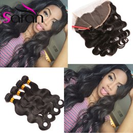 Wholesale Wholesale Hair Bleach - 13x4 Lace Frontal Closure With 3 Bundles Body Wave Bleached Knots Free Part Ear To Ear Lace Frontal with Malaysian Body Wave
