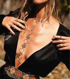 Wholesale Bra Metal Accessories - Sexy Beach Metal Chain Bra Vintage Hollow Rose Flower necklace Women Accessories Body Jewelry Boho Bijoux