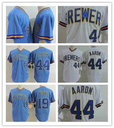 Wholesale Robin Baseball - Men's Milwaukee Brewers Throwback Jersey #44 Hank Aaron Cooperstown Throwback Jersey 19 Robin Yount Pullover Baseball Jerseys Mix Order