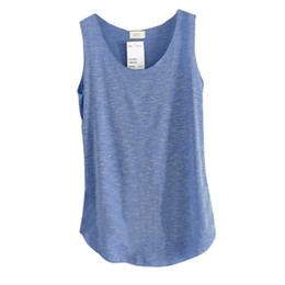 Wholesale Bamboo Shirt Wholesale - Wholesale- Womens U-Neck Beach Vest Summer Loose Bamboo Cotton Tank T-Shirt Tops Tee