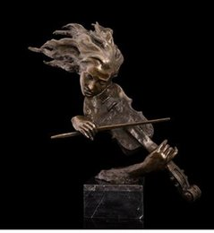 Wholesale Green Figurines - Vintage CRAFTS ARTS ATLIE BRONZES Delicate Arts and Crafts European Household Decor Bronze Violinist Orchestra Bust Statue Violin Figurines