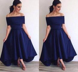 03f798ea18a0 2018 Royal Blue Off Shoulder Evening Dresses A Line Backless Hi Lo Style  Simple Prom Dresses Formal Bridesmaid Dresses