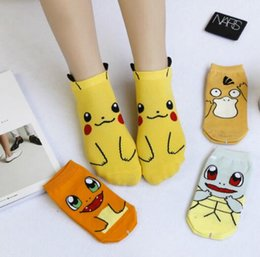 Wholesale Cheap Ladies Socks - Cartoon Pikachu Socks for Women Teen Summer Kids Sock Squirtle Psyduck Socks Korea Kids Ankle Sock Ladies Big Girls Cute Cheap Sock
