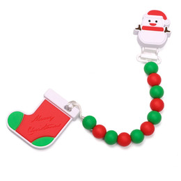 Wholesale Pacifier Beads - Silicone Pacifier Clips Christmas Stocking Pendant Safe Food Grade Silicone Snowman Pacifier Holders Green Red Teething Beads Baby Teether