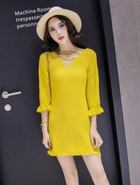 Wholesale Cheapest Sweater Dresses - V Collar Sleeve Halter Solid Sweater Knit Dress Cheapest Fashion KoreanJP16111805-03