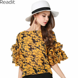 Wholesale Print Work Blouse - Readit Women Blouse 2017 Summer Floral Printed Pullovers Chiffon Blouses Shirt Tops Flare Sleeve Elegant Office Work Tops B2202