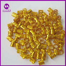 Wholesale Gold Hair Clip Ring - Wholesale-( 100pcs bag) Gold metal tube ring dreadlock beads for braids hair beads for dreadlocks adjustable hair braid cuff clips