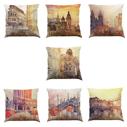 Wholesale Architectural Paintings - European Architectural Oil Painting Linen Cushion Cover Home Office Sofa Square Pillow Case Decorative Cushion Covers Pillowcases (18*18)