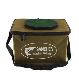 Wholesale Wholesale Fishing Tackle Bags - Wholesale- Foldable Fabric Portable Canvas square Fish Bucket Tackle Box Water Pail for Fishing Outdoors S Size Fishing Bag