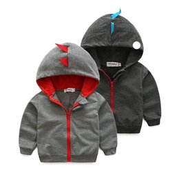 Wholesale Hood Sweater Boys - 2017 new baby Clothing Cartoon Baby dinosaur sweater with a hood boy girl fashion clothes baby boy cute spring autumn colthes
