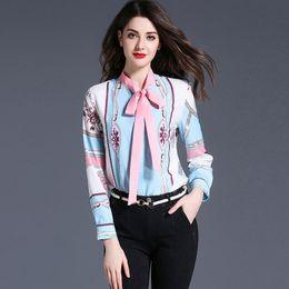Wholesale Elegant Blue Blouse - Print Work Shirts Slim Vintage Spring Casual OL Style Ladies Blouse Shirt Long Sleeve Elegant Bow Female Tops