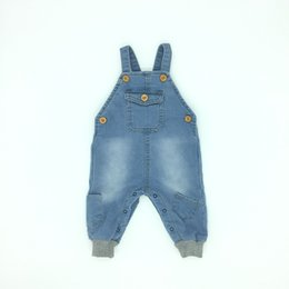 Wholesale Overalls Jeans Denim - Baby Clothes Boys Girls Jeans Overalls Pocket Fahion Design Spring Fall Soft Quality Infant Denim Clothing