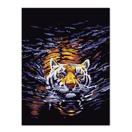 Lacknummern kits online-Rahmenlose tiger malerei diy ölgemälde by zahlen kits wandkunst bild wohnkultur acrylfarbe auf leinwand für kunstwerk