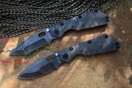 Wholesale Strider SMF tactical folding knife Y START D2 high speed steel black stonewashed TC4 flame texture handle outdoor survival knife