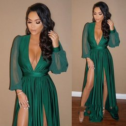 Wholesale plunge v neck - Hunter Long Sleeves Prom Dresses Plunging Neckline Front Split Evening Dress Chiffon Pleats A Line Sexy Cocktail Party Gowns