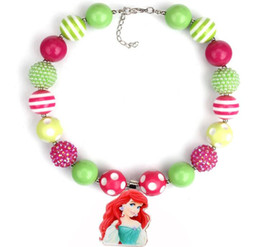 Wholesale Bubblegum Birthday Party - 2PCS Mermaid Pendant Necklaces Birthday Party Gift For Toddlers Girls Beaded Bubblegum Baby Kids Chunky Necklace Jewelry