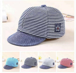 Wholesale Baby Boy Beret Hats - Baby Hats Summer Cotton Casual Striped Eaves Baseball Cap Baby Boy Beret Baby Girls Sun Hat 4 Colors Free Shipping Boys Girls Gift
