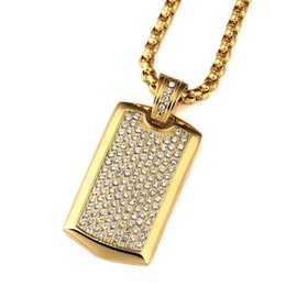 Wholesale Men Necklace Army - 2017 New Goofan Fashion Jewelry Rapper DJ Stainless Steel Necklace A Diamond Hip-hop Army Card Square Necklace for Men and Women Gift