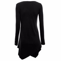 Wholesale Wholesale Long Tunic Tops - Wholesale-Stylish Women Hem Line Long Sleeve Lightweight Knit Tunic Tops T-shirts New G20 DF1