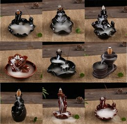 Wholesale incense cone burner - Backflow Buddhist Incense Lamps Made Of Ceramics Multiple Styles Joss Stick Censer Incenses Cone Burner Classical Fragrance Lamp Tower 8cy A