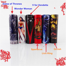 Wholesale Heat Wrap Wholesales - Game of Thrones Wonder Woman Spartacus Lich King Orcish 18650 Battery PVC Skin Sticker Vaper Wrapper Cover Sleeve Wrap Heat for Vape