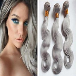 Wholesale Cheap 3pc Brazilian Body Wave - Cheap Unprocessed 8A Grey Hair Extensions Body Wave 3Pc lot Peruvian Grey Human Hair Weave Free Shipping