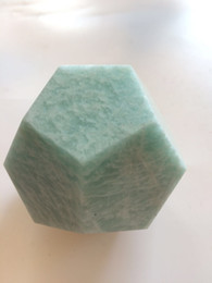 Wholesale Green Amazonite - natural gemstone ornament 12 facets polyhedron green amazonite plished rock mineral amazonstone cube for chakra healing reiki