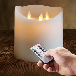 """Pilastro d'avorio online-Candela pilastro natalizio a 3 stoppini in avorio con LED senza fiamma e batteria Northlight 6 """""""