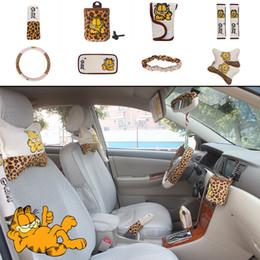 Wholesale Leopard Car Accessories Set - 10pcs unit Auto Accessories Garfield Leopard Car Upholstery Steering wheel cover pillow Cartoon car covers set Universal Automotive interior
