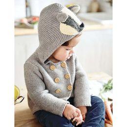 Wholesale Ear Hook Flower - Infants knitting sweater Baby boys Cartoon bear ears hooded cardigan Toddler kids double-breasted hook flower outwears Boys Clothes C1585