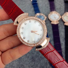 Wholesale New Luxury Diamond Case - Fashion Style Women Leather Watch with diamond Lady Watch rose gold case Diamond Steel Bracelet Chain Luxury High Quality free box A pcs