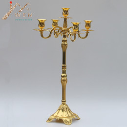 Wholesale Arms Decorations - Modern golden plated 5-arms floor candelabra, 63cm height wedding candle holder, centerpiece candle stick