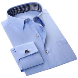 Wholesale White Purple Wedding Downs - Wholesale- New High Quality French Cufflinks Men Wedding Tuxedo Shirts White Black Twill Dress Shirts Long Sleeve Shirts Social Men Clothes