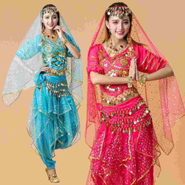 Wholesale India Clothing Costumes - Q228 Dancewear Chiffon 6 Color Belly Dancing Outfit for Ladies Belly Dance India Clothing Costumes Stage & Dance Wear