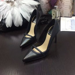 Wholesale Lady Beautiful Dresses - Free shipping New arrival genuine leather beautiful lady dress shoes shoes 12CM fashion black bottom high heels for women party wedding