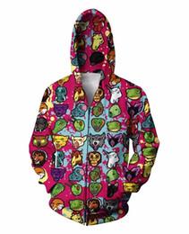 Wholesale Zip Coat Women Winter - Wholesale-Unisex Women Men Spring Winter Hotline Miami Zip-Up Hoodies Coats Cartoon Emoji Outfits 3D Hoodies Sweatshirt