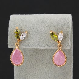 Wholesale Pink Cz Stone - Fashion Womens Jewelry 18K Yellow Gold Plated Cubic Zirconia CZ Pink Stone Teardrop Stud Earrings for Party