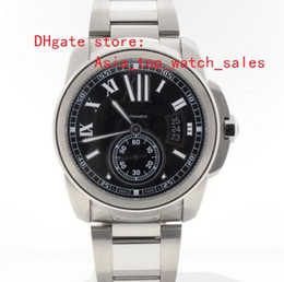 mens black large watch Coupons - Factory sale Lowest Price Super Calibre Automatic Watch black Dial Ref W7100015 Dial large mens watches wristwatches