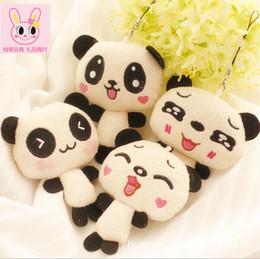 Wholesale Panda Bear Charms - Wholesale- 1PC 12cm Kawaii Lover Couple Valentine's Day Gift Novelty Mascot Doll Toy Plush Papa bear Panda Pendant For Mobile Phone Charm