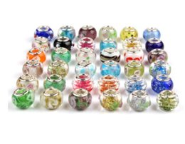 Wholesale Lampwork Murano Glass Beads - Fit Pandora Charm Bracelet 925 Sterling Silver Murano Glass Charms Beads DIY European Big Hole Lampwork For Women Bangle & Necklace Jewelry