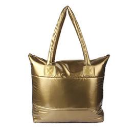Wholesale Down Feathers Wholesale - Wholesale- 2016 New Women Girl Space Bale Cotton Totes Handbag Feather Down Shoulder Bag Brand Handbags Satchel Bags Plus Bag Bolsa bolso