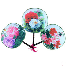 Wholesale Wedding Favour Party Flower - Peony Flower Round Silk Hand Fan Handles Traditional Craft Chinese Fan Dance Costume show prop Wedding Favour Fan 10pcs lot
