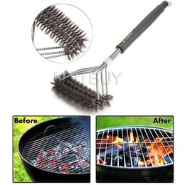 Wholesale Weld Brush - New Grill Cleaning Brush BBQ tool Grill Brush 3 Stainless Steel Brushes In 1 Provides Effortless Cleanin BBQ Accessories #4355