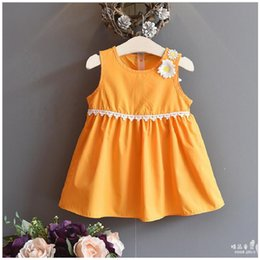 Wholesale Girls Pure Cotton Flowered Dresses - 2017 Summer new girl girl pure color flower vest dress princess dress