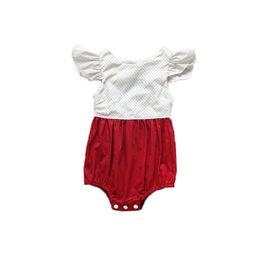 Wholesale Polka Dot Ruffle Baby - 2017 Baby Clothes Angela Sleeve Cotton Girls Bodysuit Polka Dots Ruffle Baby Girls Clothing 1st Birthday Newborn Kids Suit
