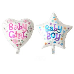 Wholesale Girl Coat Heart - 50 pcs lot girl heart boy star happy birthday foil balloons birthday decorations air balloon one hundred days party supplies baby shower
